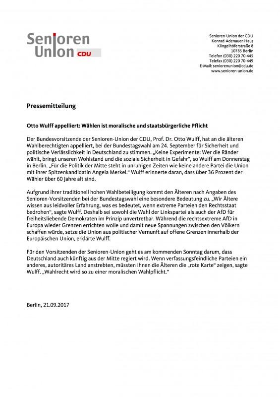 Rote Karte Berlin Mitte.Otto Wulff Appelliert Wählen Ist Moralische Und Staatsbürgerliche